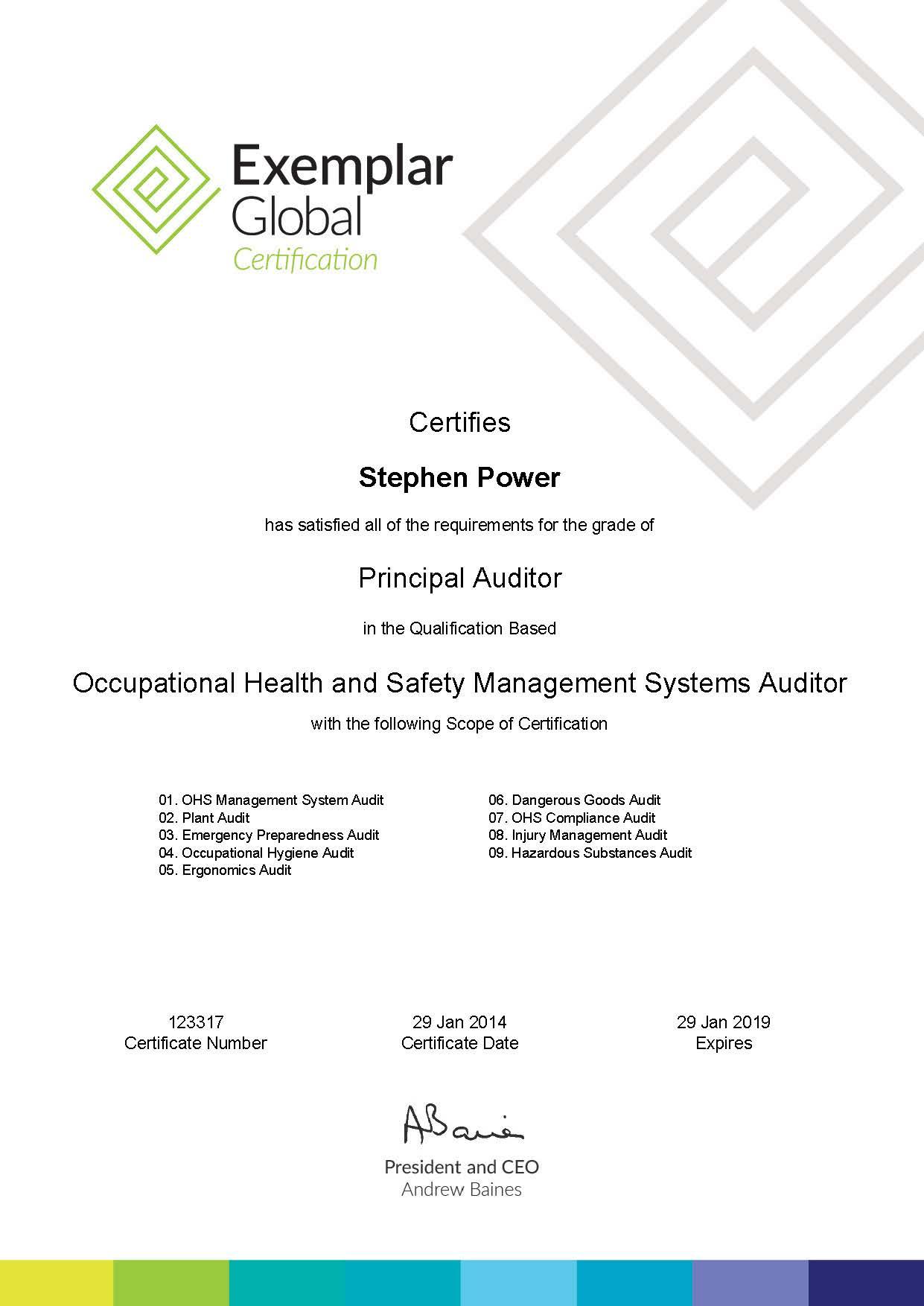 Re Certification Craig Power Principal Ohs Management